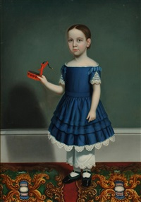 portrait of a child wearing a blue dress, holding a tinware toy pump by william thompson bartoll