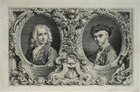doppelbildnis im oval von antonio canale und selbst mit umfangreichen bordürenwerk by antonio visentini