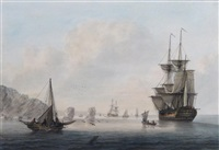 shipping becalmed off the needles, isle of wight by samuel atkins