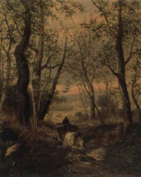 forest scene with horse and cart by l. vacano