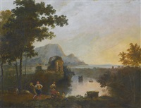 a coastal landscape with peasants dancing in the foreground by richard wilson