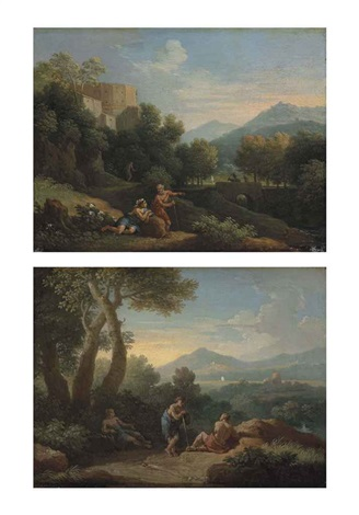 a mountainous italianate landscape with arcadian figures conversing on a path, a fortified town beyond and a wooded italianate landscape (a pair) by jan frans van bloemen