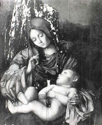 madonna and child, a landscape beyond by francesco zaganelli