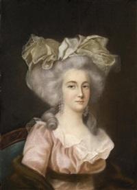 portrait de jeune femme à la robe rose, en buste by adélaïde labille-guiard