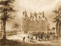 vue du château de randan, côté de l'entrée principale, avec l'arrivée de louis-philippe et de sa famille by louis-marie (général) atthalin