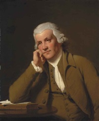 portrait of jedediah strutt (1720-1797), half-length, in a brown waistcoat and jacket, leaning on a book by joseph wright (of derby)