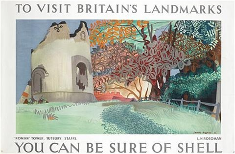 to visit britains landmarks roman tower tutbury staffs ycan be sure of shell poster by leonard rosoman