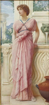 femme draprée devant une fontaine antique by henry ryland