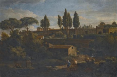 rome a terraced garden probably that of the villa silvestri rivaldi by jan frans van bloemen