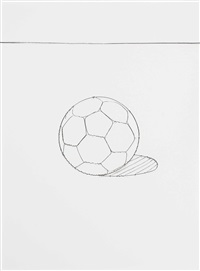 soccer ball. serie pictures of wire by vik muniz