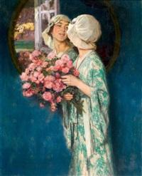 elégante au miroir by auguste leroux