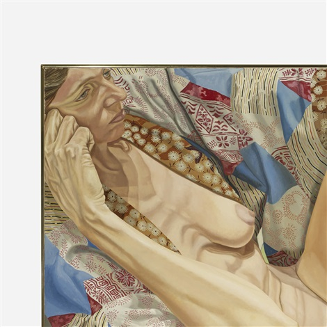 model in kimono on eames chair by philip pearlstein