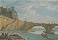 a view of paris: the pavillon de flore of the louvre and the pont royal, looking through to the ile de la cité by jean baptiste nicolas raguenet