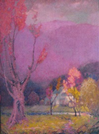 purple mountain landscape by william hurd lawrence