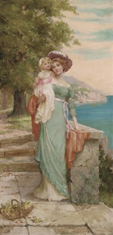 gathering flowers on the path to the sea by sydney percy kendrick