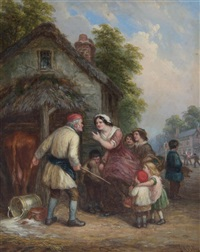 village incident; punch and judy (2 works) by john anthony puller