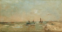 barque de pêche en bord de mer by louis artan de saint-martin