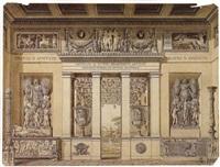projet de frontispice: un portique sur la terrasse d'une  villa romaine by auguste henri victor grandjean