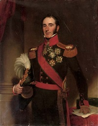 portrait of sir john conroy in the uniform of the royal artillery holding a plumed helmet by henry william pickersgill