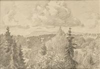 landskap i bærum, kolsåstoppen og skaugumåsen 19 by erik theodor werenskiold