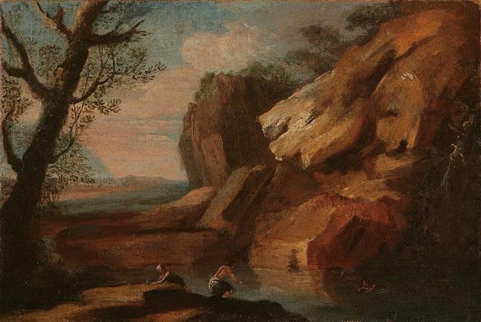 paesaggio roccioso con laghetto e nuotatore by gaspard dughet