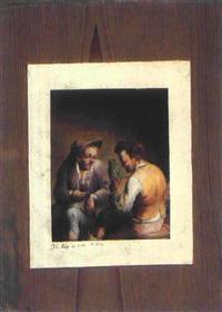 quodlibet mit zwei bauern in einer gaststube by jakob christian (christoph) seng