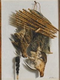a trompe l'oeil still life with two quails, a bird-net and a whistle by jacobus biltius