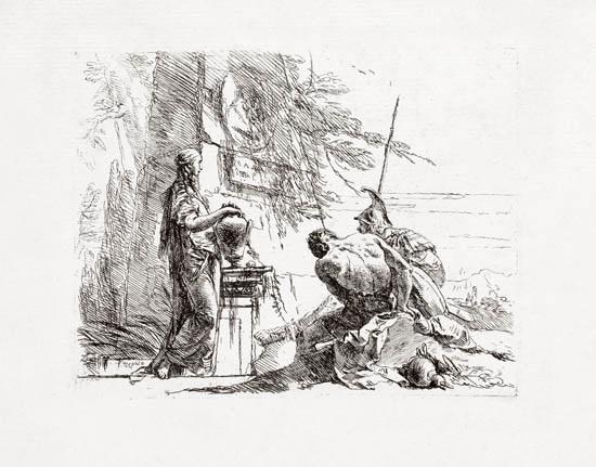 donna che posa le mani su un vaso soldato e schiavo from vari capricci by giovanni battista tiepolo