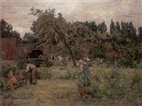 tending the garden by adrien louis demont