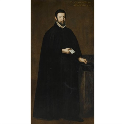 portrait of a gentleman wearing a black cloak and holding a black hat and a letter by scipione pulzone