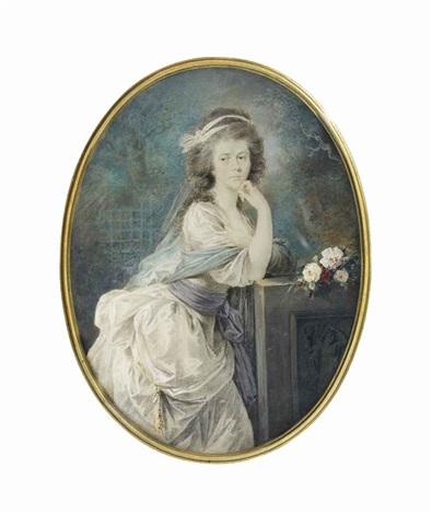 ursula kaczkowska in white dress with lilac sash pale blue shawl draped around her shoulders by friedrich heinrich füger
