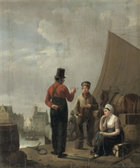 figures on a quay in a town by pierre françois charles leroy