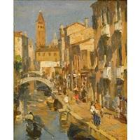 a venetian canal by felice castegnaro