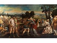 coriolanus wird von seiner mutter gebeten die stadt rom zu verschonen by bonifazio de pitati