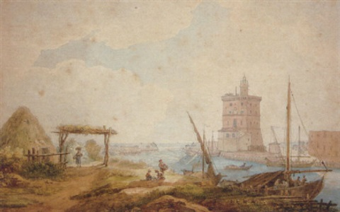 fishermen near the tower of belem by lisbon by henri lévêque