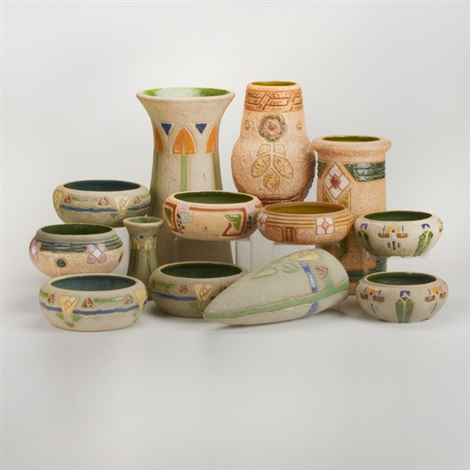 Mostique Four Vases Eight Bowls And Wallpocket 13 Works By