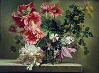 hollyhock and clematis by bennett oates