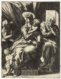 the holy family with saint elizabeth and saint john the baptist (after pompeo dell'aquila) by orazio (aquilano) de santis