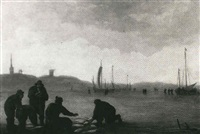 a beach scene with fishermen handling their nets by cornelis de bie