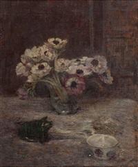 stillleben mit blumenvase, keramikschwein und fayencetasse by alfred sohn-rethel