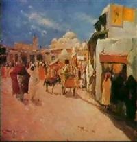place de la mosquee sidi m'harez a tunis by ferdinand elie david