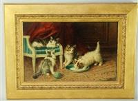 chatons avec une assiette de lait et une pelotte de laine by jules leroy