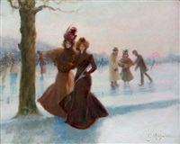 deux femmes au patinage by g. michelet