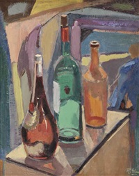 a still life with bottles by ruurd elzer