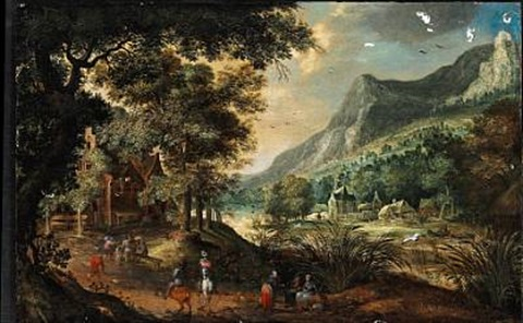 landscape with figures near a river by david vinckboons