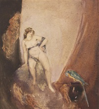 lady and parrot by norman alfred williams lindsay