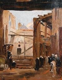 a souk scene by baron rodolphe d' erlanger