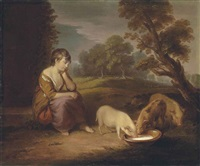a girl feeding pigs in a wooded landscape by thomas gainsborough