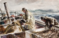oil skins- ploughing out by john whorf