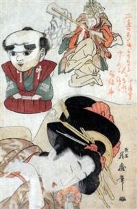 oban tate-e, kitsune fukusuke, jeune femme endormi rêvant d'un renard by tsukimaro
